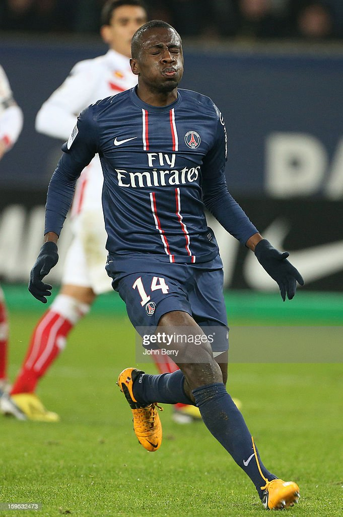 Blaise Matuidi of PSG reacts after PSG misses a goal during the French Ligue 1 match between Paris Saint Germain FC and AC Ajaccio at the Parc des Princes stadium on January 11, 2013 in Paris, France.