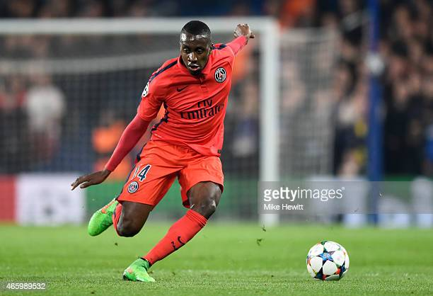 Blaise Matuidi of PSG runs with the ball during the UEFA Champions League Round of 16 second leg match between Chelsea and Paris SaintGermain at...