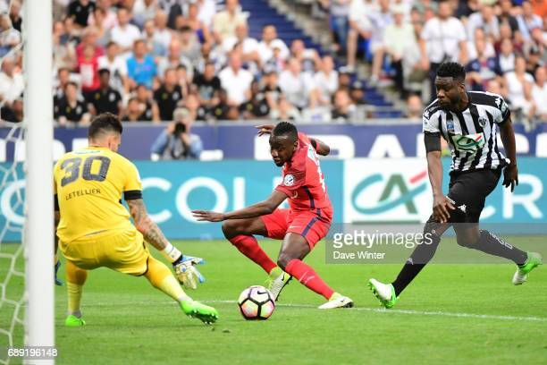 Blaise Matuidi of PSG sees his shot saved by goalkeeper Alexandre Letellier of Angers during the National Cup Final match between Angers SCO and...