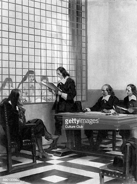 Blaise Pascal French mathematician and physicist with the mother superior and two notaries at the reading of the contract ensuring his sister...