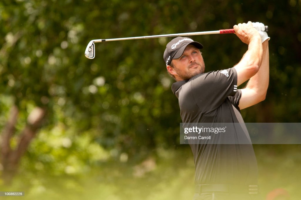 Blake Adams follows through on a tee shot during the fourth round of the HP Byron Nelson Championship at TPC Four Seasons Resort Las Colinas on May...