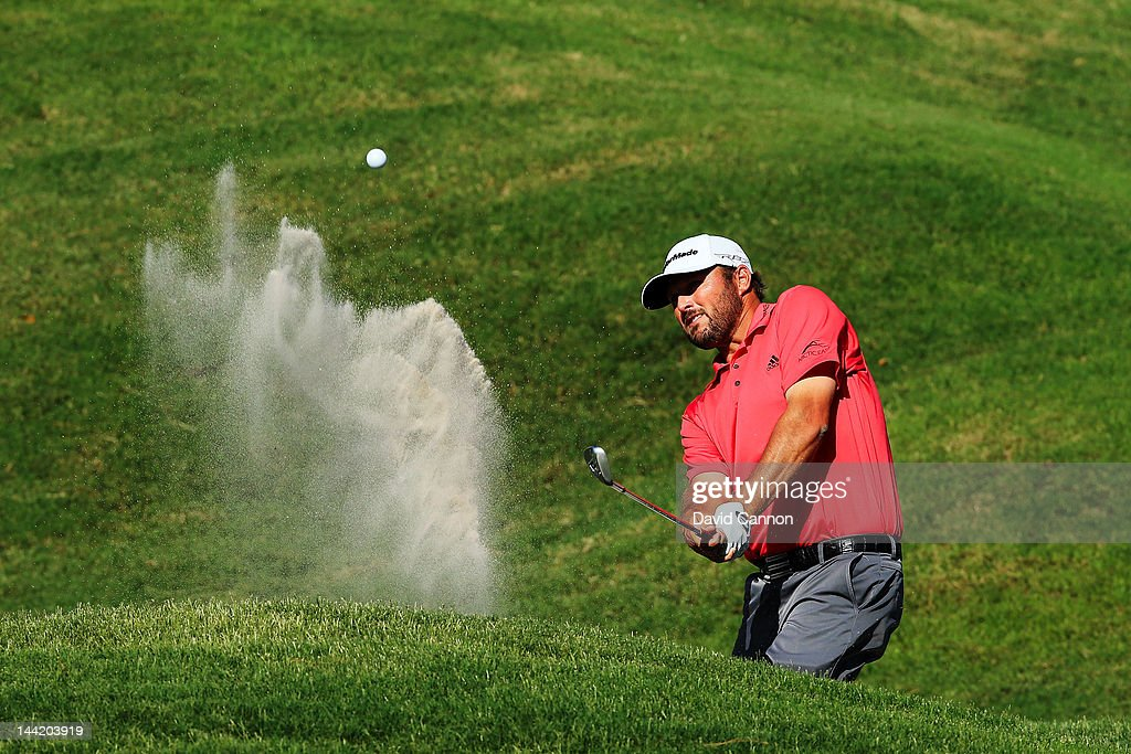 Blake Adams of the United States hits his third shot from a bunker on the ninth hole during the second round of THE PLAYERS Championship held at THE PLAYERS Stadium course at TPC Sawgrass on May 11, 2012 in Ponte Vedra Beach, Florida.