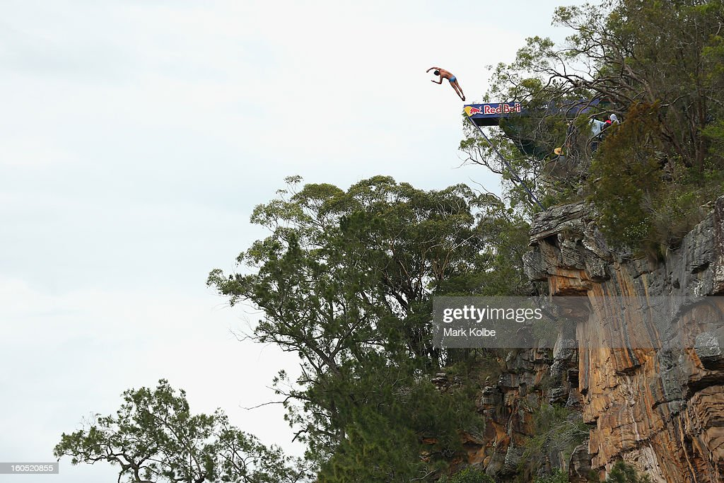<a gi-track='captionPersonalityLinkClicked' href=/galleries/search?phrase=Blake+Aldridge&family=editorial&specificpeople=4900819 ng-click='$event.stopPropagation()'>Blake Aldridge</a> of Great Britian competes during the Red Bull Cliff Diving qualifying round in the Hawkesbury River on February 2, 2013 in Sydney, Australia.
