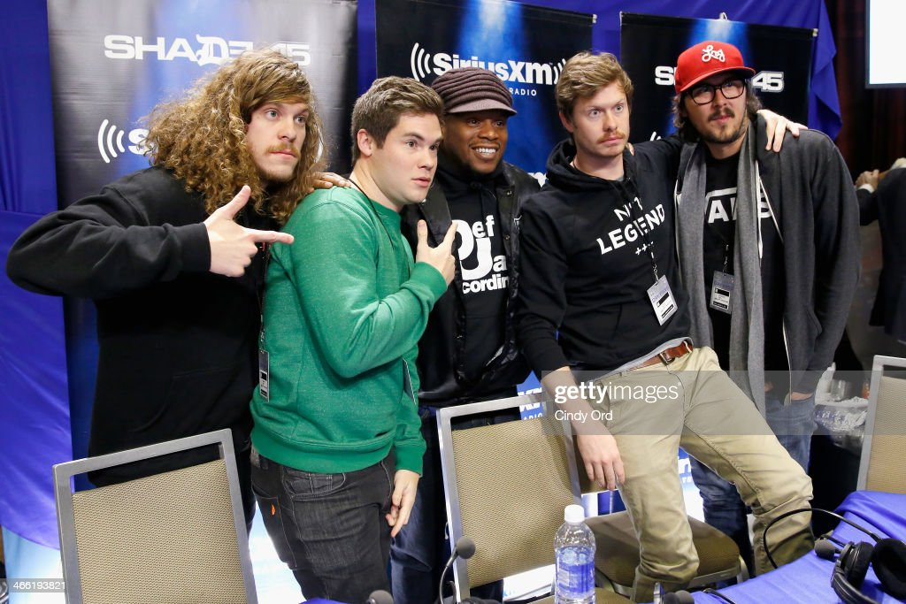 Blake Anderson, Adam DeVine, Sway Calloway, Anders Holm and Kyle Newacheck attend SiriusXM's Shade 45 at Super Bowl XLVIII Radio Row on January 31, 2014 in New York City.