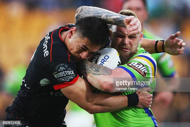 Blake Austin of the Raiders charges forward during the round 23 NRL match between the New Zealand Warriors and the Canberra Raiders at Mt Smart...