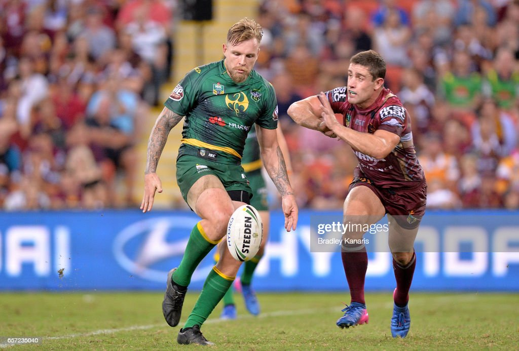 Blake Austin of the Raiders kicks the ball during the round four NRL match between the Brisbane Broncos and the Canberra Raiders at Suncorp Stadium on March 24, 2017 in Brisbane, Australia.