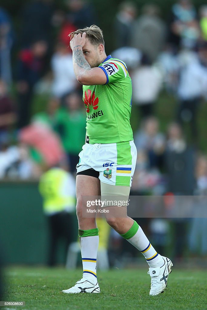 Blake Austin of the Raiders looks dejected after defeat during the round nine NRL match between the Penrith Panthers and the Canberra Raiders at Carrington Park on April 30, 2016 in Bathurst, Australia.