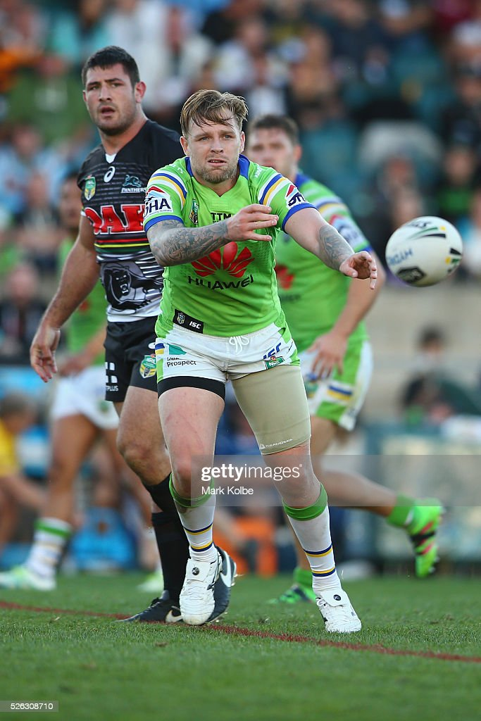 Blake Austin of the Raiders passes during the round nine NRL match between the Penrith Panthers and the Canberra Raiders at Carrington Park on April 30, 2016 in Bathurst, Australia.