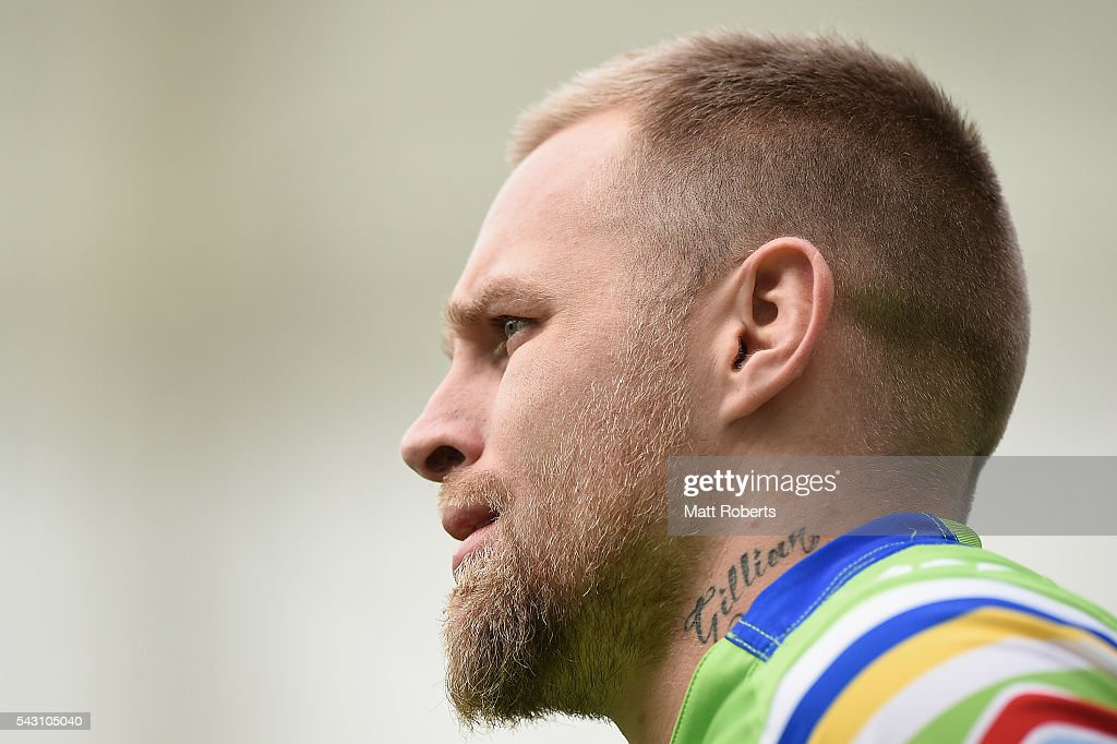Blake Austin of the Raiders warms up on the field before the round 16 NRL match between the Gold Coast Titans and the Canberra Raiders at Cbus Super Stadium on June 26, 2016 in Gold Coast, Australia.