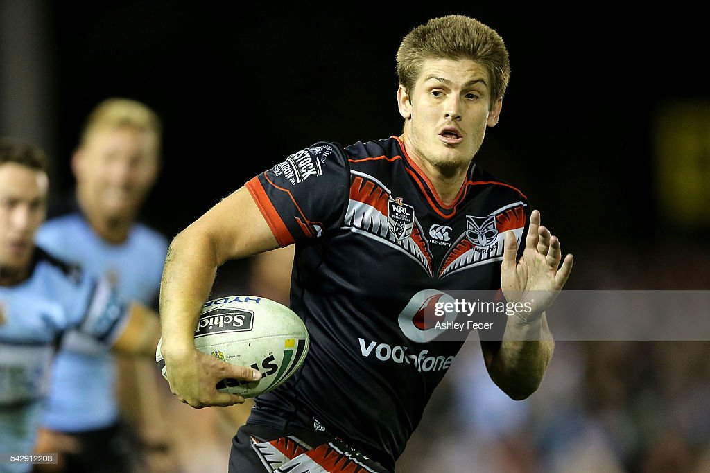 Blake Ayshford of the Warriors runs the ball during the round 16 NRL match between the Cronulla Sharks and the New Zealand Warriors at Southern Cross Group Stadium on June 25, 2016 in Sydney, Australia.