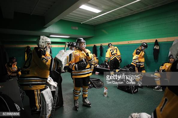 Blake Bolden and Boston Pride players prepare for the game in the dressing room before the Connecticut Whale vs Boston Pride National Women's Hockey...