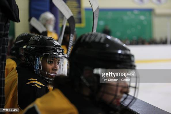 Blake Bolden Boston Pride watching from the bench during the Connecticut Whale vs Boston Pride National Women's Hockey League game at Chelsea Piers...