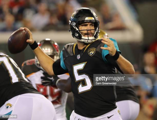 Blake Bortles of the Jacksonville Jaguars attempts a pass during a preseason game against the Tampa Bay Buccaneers at EverBank Field on August 17...