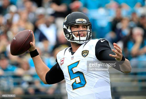 Blake Bortles of the Jacksonville Jaguars attempts a pass during the game against the Houston Texans at EverBank Field on October 18 2015 in...