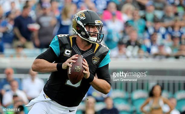Blake Bortles of the Jacksonville Jaguars attempts a pass during the game against the Indianapolis Colts at EverBank Field on December 13 2015 in...