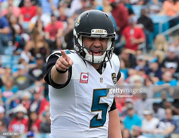 Blake Bortles of the Jacksonville Jaguars calls out a signal during the game against the Houston Texans at EverBank Field on October 18 2015 in...