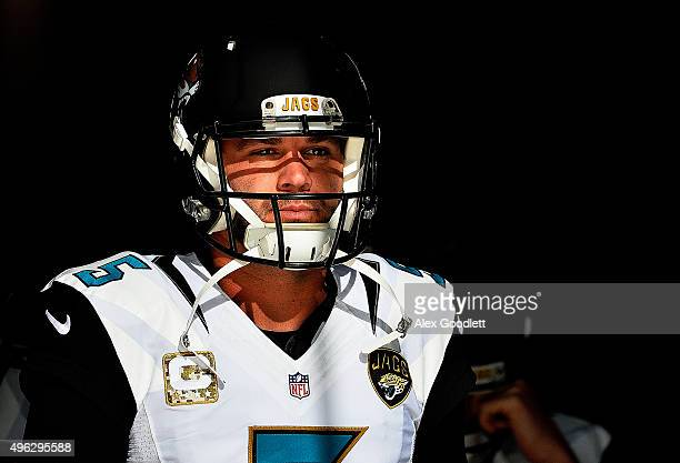 Blake Bortles of the Jacksonville Jaguars comes out for warmups prior to the game against the New York Jets at MetLife Stadium on November 8 2015 in...