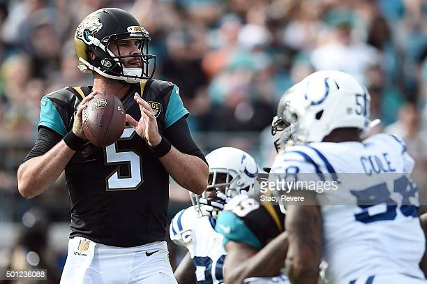 Blake Bortles of the Jacksonville Jaguars drops back to pass during a game against the Indianapolis Colts at EverBank Field on December 13 2015 in...