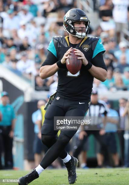 Blake Bortles of the Jacksonville Jaguars drops back to pass during the first half of their game against the Los Angeles Chargers at EverBank Field...