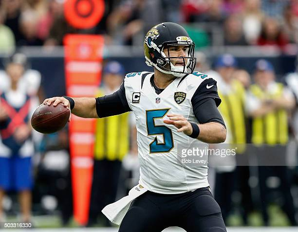 Blake Bortles of the Jacksonville Jaguars during game action against the Houston Texans at NRG Stadium on January 3 2016 in Houston Texas