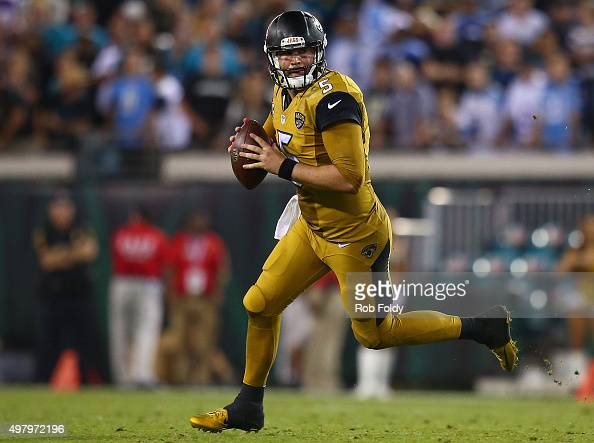 Blake Bortles of the Jacksonville Jaguars in action during the second half of the game against the Tennessee Titans at EverBank Field on November 19...