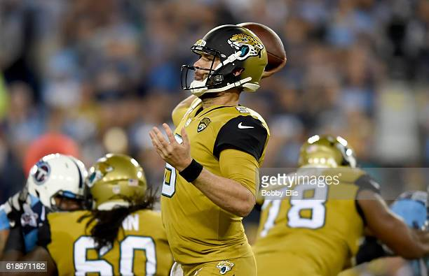 Blake Bortles of the Jacksonville Jaguars passes the ball during the second quarter of the game against the Tennessee Titans at Nissan Stadium on...