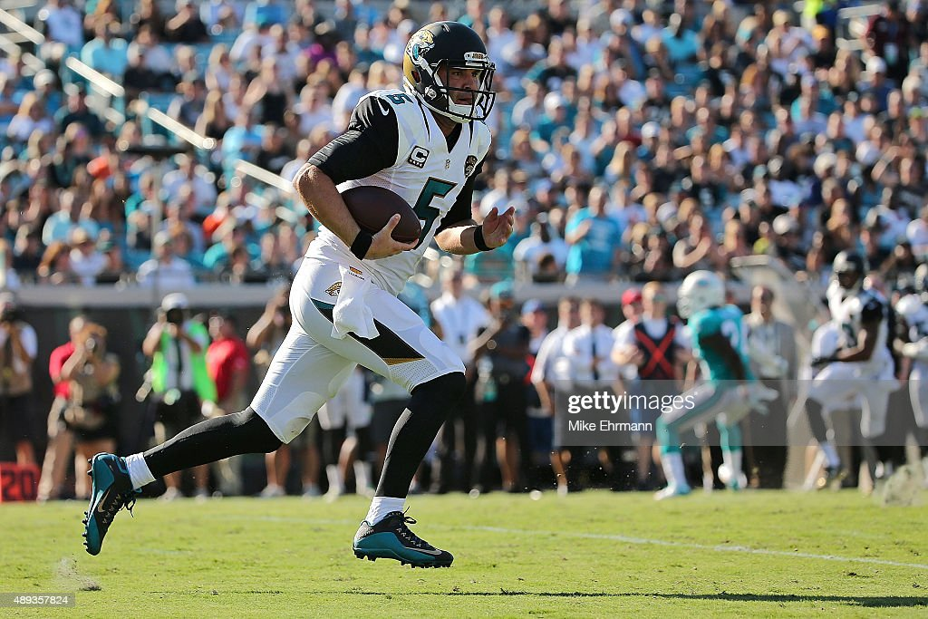 Blake Bortles of the Jacksonville Jaguars rushes during a game against the Miami Dolphins at EverBank Field on September 20 2015 in Jacksonville...
