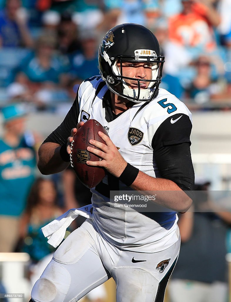 Blake Bortles #5 of the Jacksonville Jaguars scrambles for yardge during the game against the Miami Dolphins at EverBank Field on September 20, 2015 in Jacksonville, Florida.