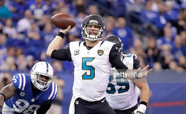 Blake Bortles of the Jacksonville Jaguars throws a pass durling the game against the Indianapolis Colts at Lucas Oil Stadium on January 1 2017 in...