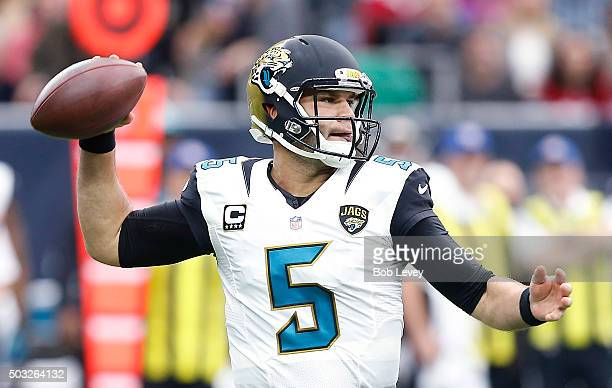 Blake Bortles of the Jacksonville Jaguars throws a pass in the pocket agains the Houston Texans in the first quarter on January 3 2016 at NRG Stadium...