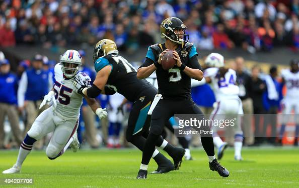 Blake Bortles of the Jacksonville Jaguars throws against the Buffalo Bills during the NFL game at Wembley Stadium on October 25 2015 in London England