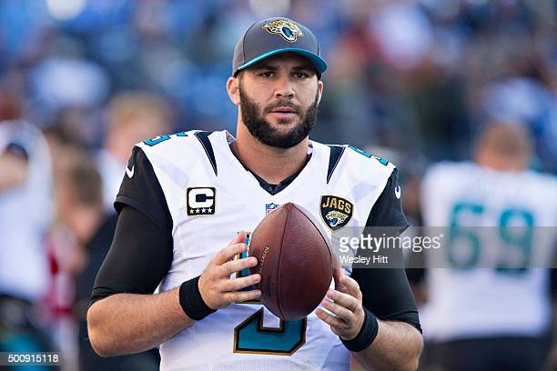 Blake Bortles of the Jacksonville Jaguars warms up on the sidelines during a game against the Tennessee Titans at Nissan Stadium on December 6 2015...