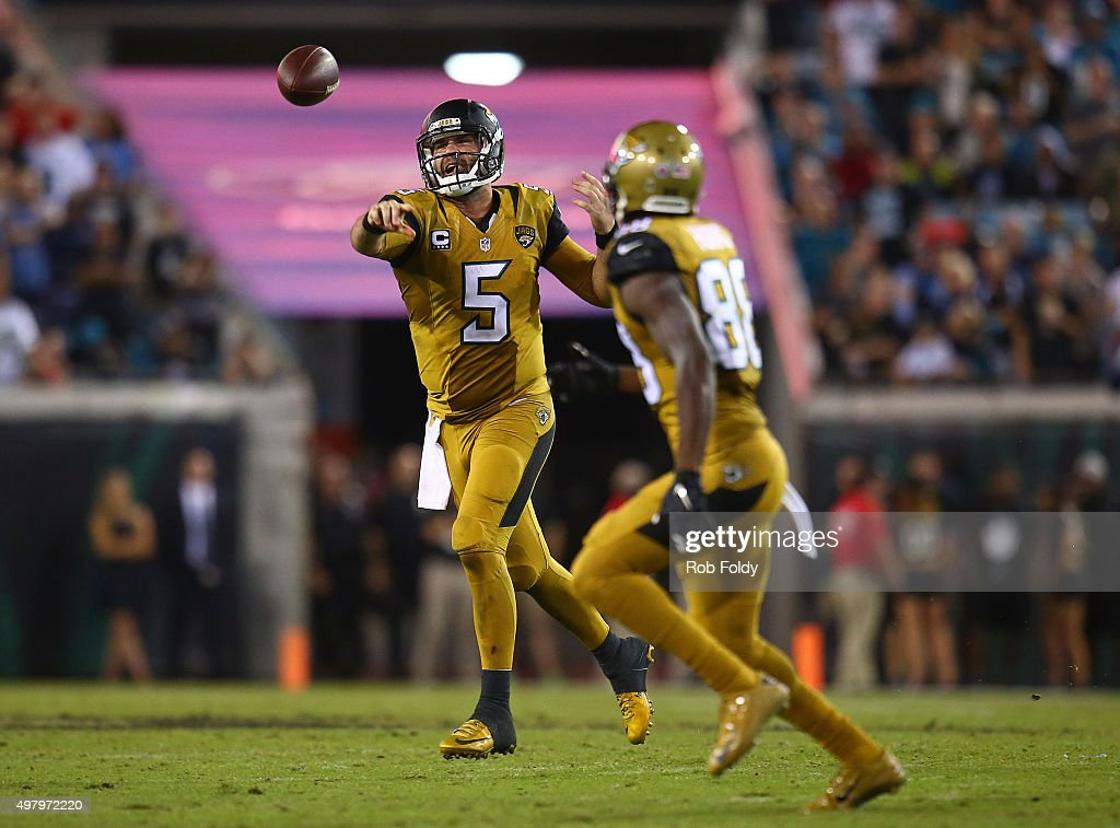 Blake Bortles #5 throws to Allen Hurns #88 of the Jacksonville Jaguars during the second half of the game against the Tennessee Titans at EverBank Field on November 19, 2015 in Jacksonville, Florida.