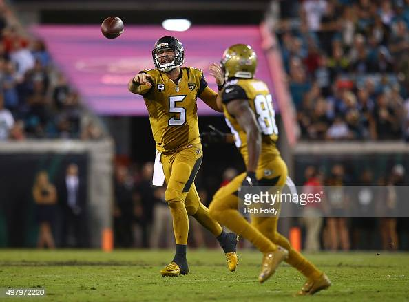 Blake Bortles throws to Allen Hurns of the Jacksonville Jaguars during the second half of the game against the Tennessee Titans at EverBank Field on...