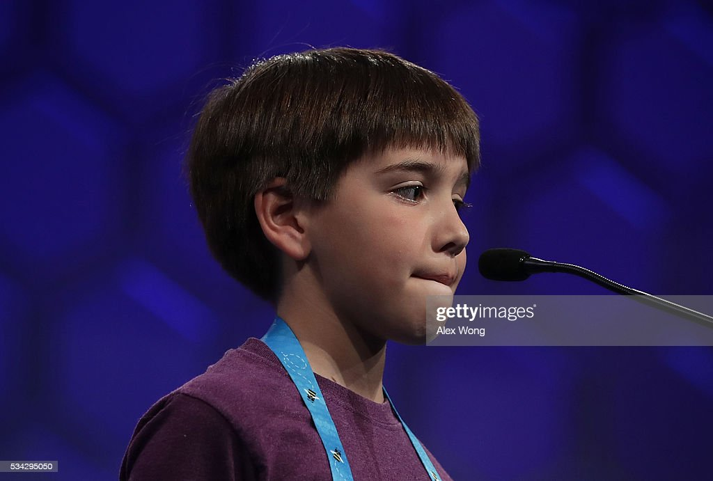 Blake Cabral of Buxton, North Carolina, participates in round three of the 2016 Scripps National Spelling Bee May 25, 2016 in National Harbor, Maryland. Students from across the country gathered to competed for top honor of the annual spelling championship.