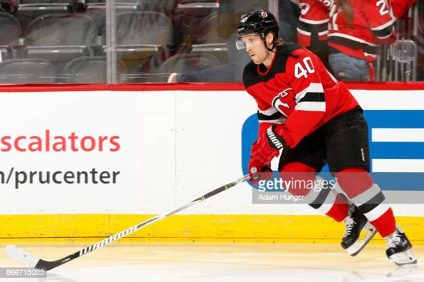Blake Coleman of the New Jersey Devils during warm up prior to taking on the Tampa Bay Lightning at the Prudential Center on October 17 2017 in...