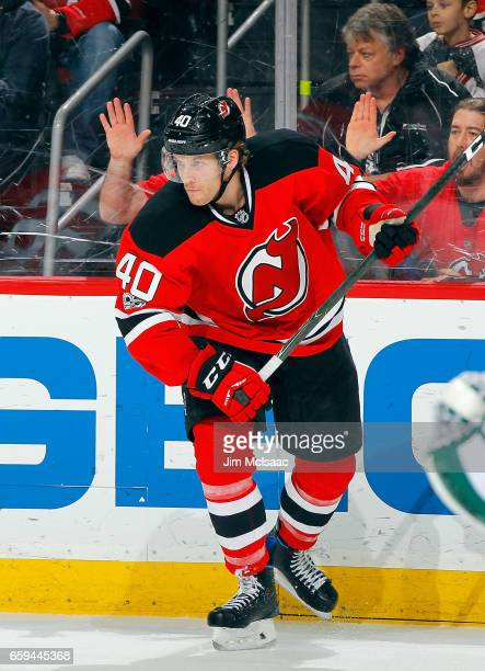 Blake Coleman of the New Jersey Devils in action against the Dallas Stars on March 26 2017 at Prudential Center in Newark New Jersey The Stars...