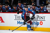 Blake Comeau of the Colorado Avalanche controls the puck against the Minnesota Wild at Pepsi Center on October 8 2015 in Denver Colorado The Wild...