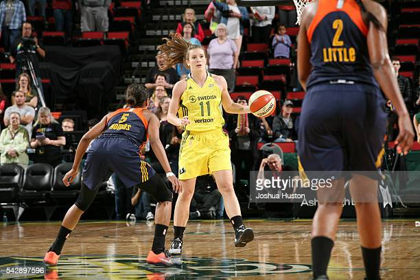 Blake Dietrick of the Seattle Storm handles the ball against the Connecticut Sun on June 24 2016 at Key Arena in Seattle Washington NOTE TO USER User...