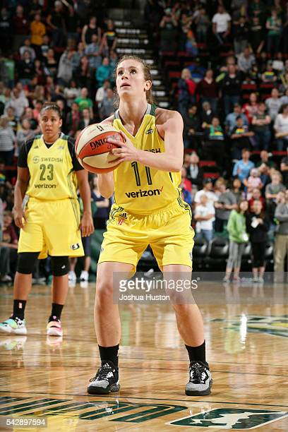 Blake Dietrick of the Seattle Storm shoots a free throw against the Connecticut Sun on June 24 2016 at Key Arena in Seattle Washington NOTE TO USER...