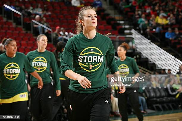 Blake Dietrick of the Seattle Storm warms up before facing the Washington Mystics on May 26 2016 at Key Arena in Seattle Washington NOTE TO USER User...