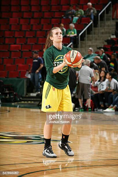 Blake Dietrick of the Seattle Storm warms up before the game against the Connecticut Sun on June 24 2016 at Key Arena in Seattle Washington NOTE TO...