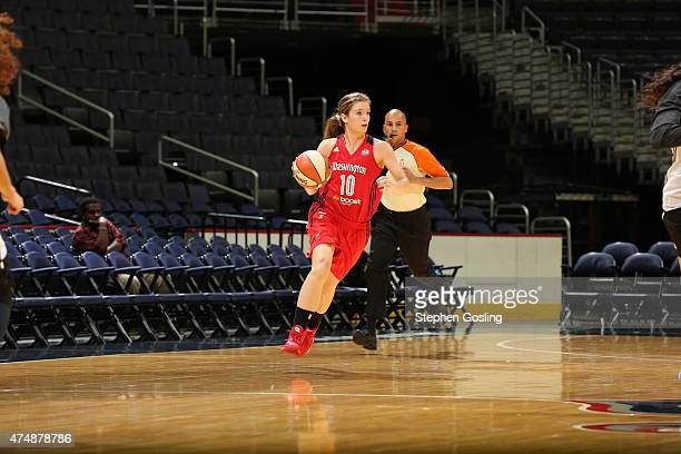 Blake Dietrick of the Washington Mystics drives against the Minnesota Lynx during an Analytic Scrimmage at the Verizon Center on May 26 2015 in...