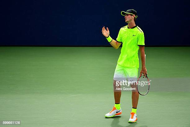 Blake Ellis of Australia reacts against Stefanos Tsitsipas of Greece during their Junior Boys' Singles Round Two Match on Day Nine of the 2016 US...