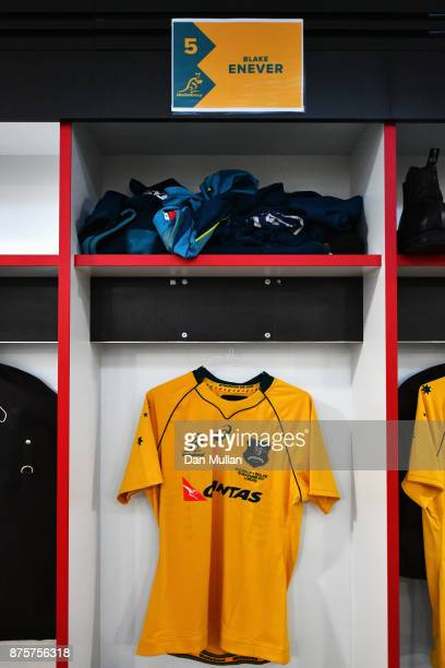 Blake Enever of Australia debut shirt is seen in the dressing room prior to the Old Mutual Wealth Series match between England and Australia at...