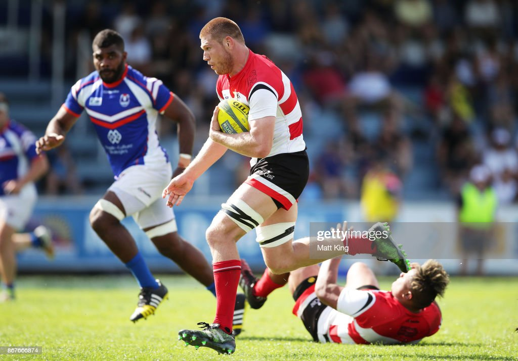 Blake Enever of the Vikings makes a break during the round nine NRC match between the Rams and Canberra at TG Milner Oval on October 29, 2017 in Sydney, Australia.