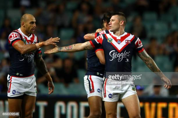 Blake Ferguson and Shaun KennyDowall of the Roosters celebrate a try during the round two NRL match between the Sydney Roosters and the Canterbury...