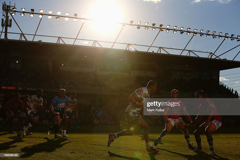 Blake Ferguson of the Raiders runs the ball up during the round 10 NRL match between the Cronulla Sharks and the Canberra Raiders at Sharks Stadium on May 19, 2013 in Sydney, Australia.