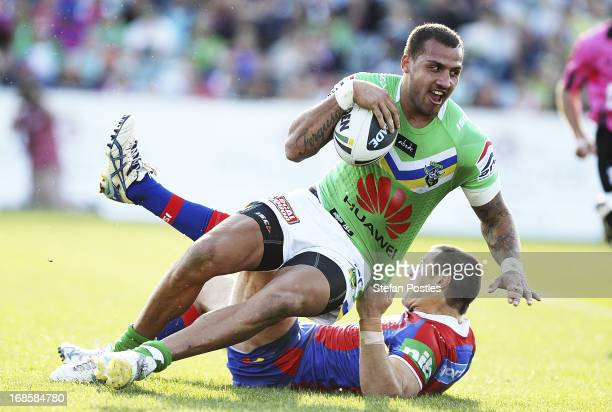 Blake Ferguson of the Raiders scores a try during the round nine NRL match between the Canberra Raiders and the Newcastle Knights at Canberra Stadium...
