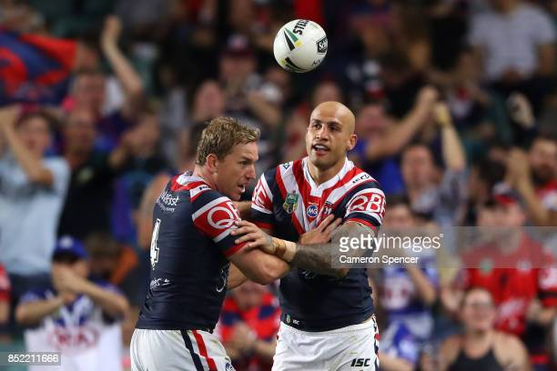 Blake Ferguson of the Roosters celebrates scoring a try during the NRL Preliminary Final match between the Sydney Roosters and the North Queensland...